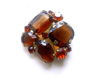 Juliana Rhinestone Brooch Fall Harvest Colors  Brown and Orange