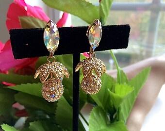 Elegant Hi End Rhinestone Gold Drop Earrings Bridal Wedding Fashion Jewelry