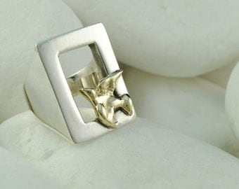 Dove in a Window Ring - Solid Sterling Silver and Solid 14K Gold, FREE Shipping
