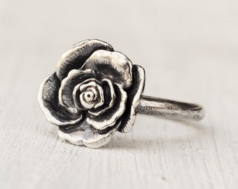 sterling silver romantic rose ring - handmade statement ring - 100% recycled - ethical silver - bohemian jewelry