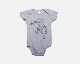 Astronanimal Monkey   Baby Onesie