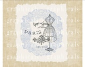 Paris collage Mannequin Periwinkle blue lace Instant digital download image for iron on fabric burlap transfer paper pillow totebag  No 2174
