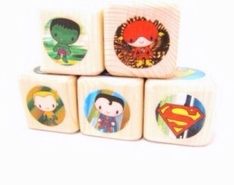 Super hero baby shower decor. Blocks. Superheroes. Gift for boy. Wood Toy. Nursery Decor. birthday toddler gift. Wooden stacking blocks.