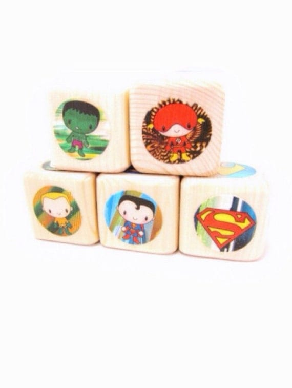 Super hero baby shower decor. Blocks. Superheroes. Easter for boy. Wood Toy. Nursery Decor. birthday toddler gift. Wooden stacking blocks.