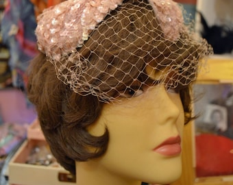 Pink Sequin Hat fascinator 1960s Freeform Fitted Hat