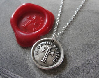Faith Is My Strength wax seal necklace - antique French wax seal jewelry with cross