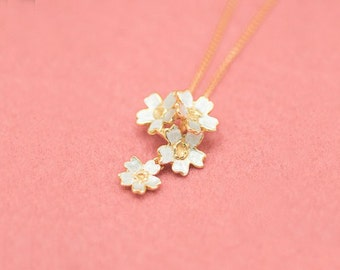 Cherry blossom necklace - Four flowers - Sakura pendant & chain - Japanese blossom - non-allergenic - free shipping
