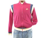 Vintage 80s Nike Track Jacket Blue Tag Mens Fall Spring Outerwear Althetic Sports 1980s Maroon Medium M