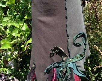 Pixie Forest Fairie Skirt, Summer Festival Wear, Faerie World Skirt, Upcycled Cotton Tee Skirt, Small, #SK305