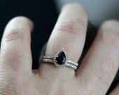 Black Spinel Engagement Ring & Diamond Pear Halo Helena Set 1ct 7x5mm Custom Size White-Yellow-Rose Gold-10k-14k-18k-Platinum Basket