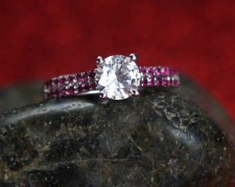 White Sapphire Engagement Ring with Ruby Engagement Ring Custom Size White-Yellow-Rose Gold-10k-14k-18k-Platinum