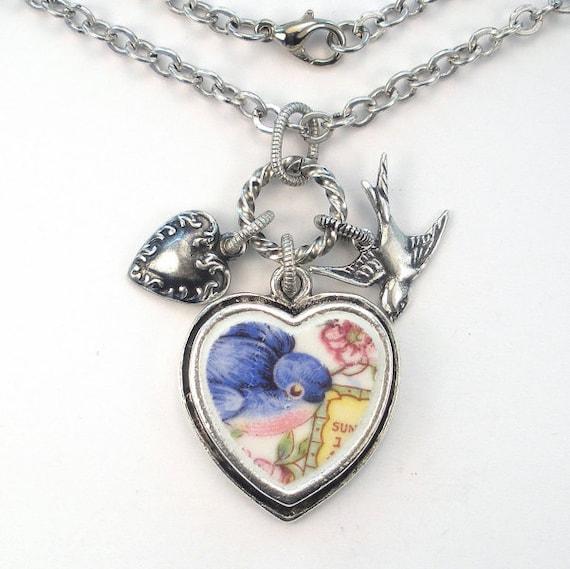 bluebird charm blue bird pendant necklace by charmedware