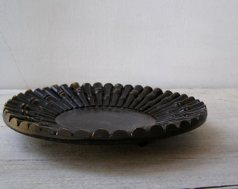 Vintage Asian Bamboo Reeds Black Bowl Plate, Japanese wooden Decorative Footed Platter, Collectible Oriental Table Centerpiece decoration,