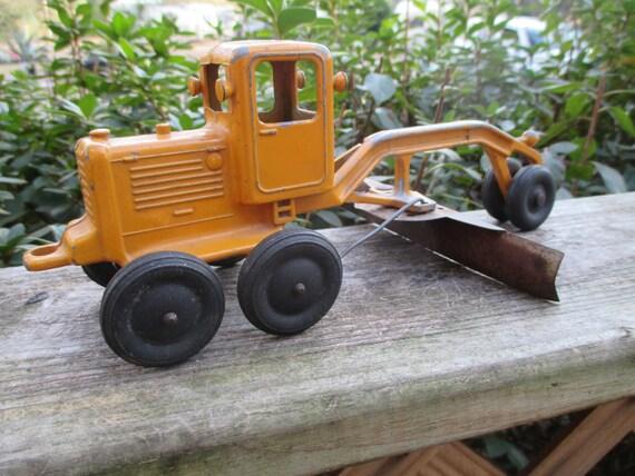 Slik Road Grader Vintage Toy Road Maintainer Yellow
