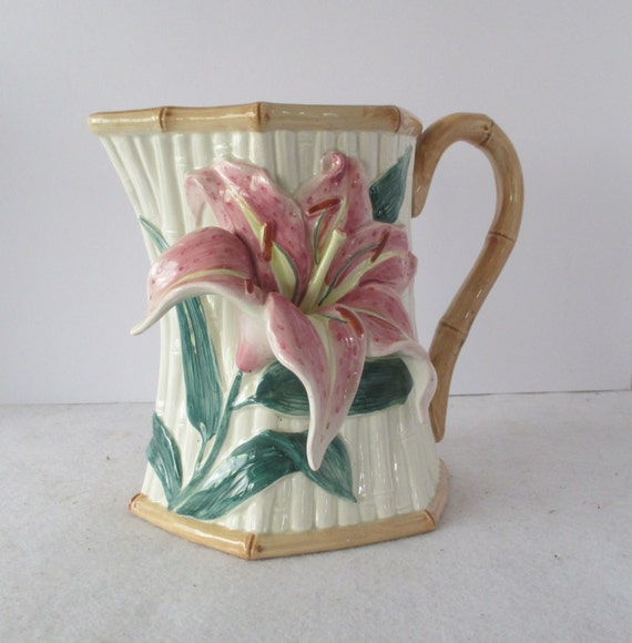 Stargazer Lily Pitcher 1 5 Qt Fritz And Floyd Vintage