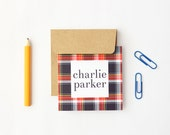 Stationary for Boys Personalized Gift Enclosure Cards Custom Kids Gift Tags Plaid Birthday Card Red Navy Tartan Small Mini Cards / Set of 25