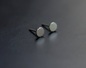 Sterling Silver Earrings, Circles, Modern, Contemporary, Textured, Ear Studs, Minimal
