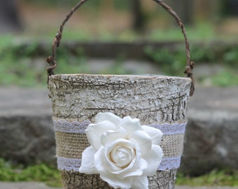 Birch Flower Girl Basket Rustic  Burlap Lace and A Paper Rose