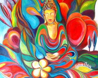 Buddha Painting - Forest of Light- Giclee print on canvas by Sofan Chan 18inch x 24 inch (46cm x 61cm)