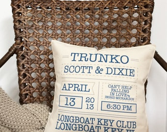 """12"""" Wedding Info Keepsake Pillow - Insert Included - Cotton Canvas - Loop and Toggle Closure - Cotton Anniversary - 2nd Anniversary Gift"""