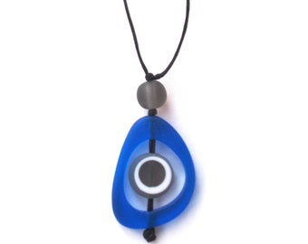 Nursing Necklace Babywearing Necklace Spinning Disc Pendant - Blue and Grey Gray