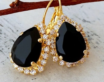 Black crystal Swarovski drop earrings, Drop earrings, Dangle earrings, Gold earrings, Bridal earrings, Bridesmaids gifts, weddings