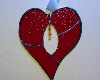 Red Stained Glass Heart with Crystals