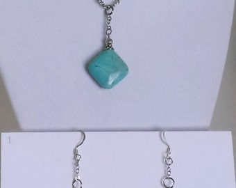 Genuine Turquoise Pendent Necklace and Earrings Set.