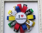 School Theme Loopy Bottle Cap Hair Bow - Primary Crayon Colors - Back To School - I Love Preschool/I love Kindergarten