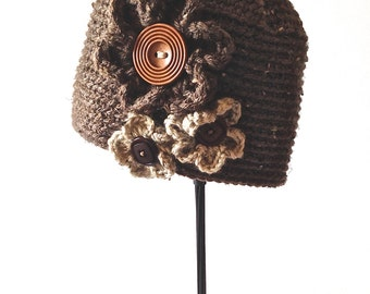 winter hat, brown tweed cloche, tweed flower hat, brown tweed tuque, women's hat, chunky flower hat, large wooden button,