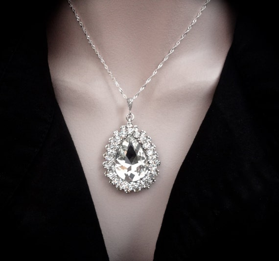 Crystal Rhinestone statement necklace ~ Large ~ Teardrop ~ Sterling Silver ~ Statement necklace ~ Bridal jewelry ~ Prom ~ Jewelry