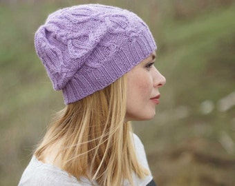 Hand knitted autumn winter hat - lilac women hat urban wool hat READY TO SHIP