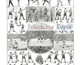gift Instant download digital BOXING - French Dictionary Illustration from dictionary