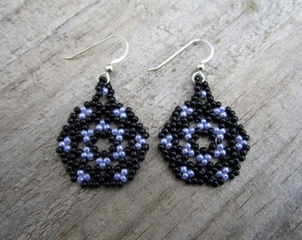 Black and Purple Mandala Earrings - Huichol Style - Milky Lavender and Black Seed Beaded - Hand Made in USA