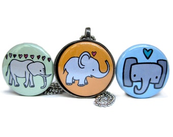 Elephants Necklace Set - Pachyderm Pendants - Three Interchangeable Magnets and Pewter Pendant Set in Gift Tin