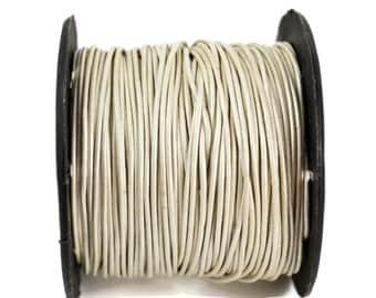 1mm Metallic Pearl White Leather Round Cord