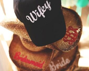 BLACK WIFEY HAT / Bridal Gift / Bachelorette Party Gift / Bride / Bridesmaid / Honeymoon