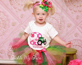 Girly Tractor Themed Birthday Tutu Outfit-Pink and Green Tractor Tutu Set-First Birthday Tractor Party *Bow NOT Included*