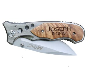 Fathers day Gift Groomsman gift Best Man Usher gift  Engraved knife with clip Custom Pocket Knife Christmas gift Graduation gift Mens gift