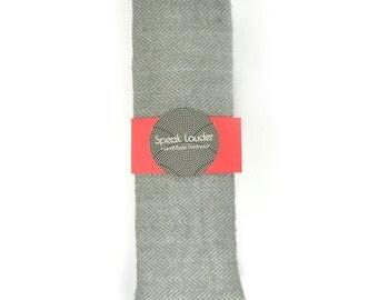 Wedding Mens Tie Skinny Necktie grey herringbone wool