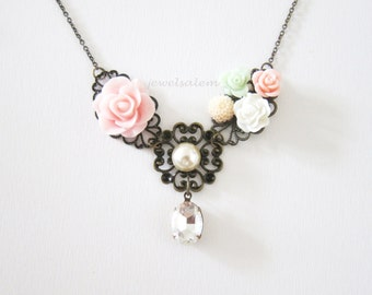 Pink Mint Green Necklace Wedding Soft Blush Peach Pastel Floral Necklace Bride Elegant Bridesmaids Gift Shabby Chic Groom Mother in Law SB