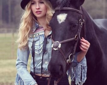 Faux leather fringe bone-bead tassel necklace
