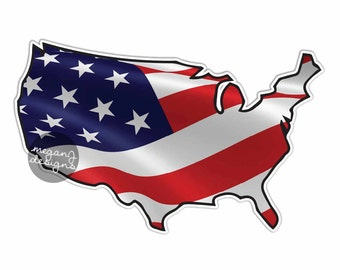USA American Flag Sticker: Patriotic USA Bumper Sticker Laptop Decal America Stars Stripes Red White Blue American United States Waving Flag