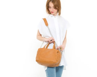 Brown Leather Tote Bag, Oversized Leather Designer Handbag, Everyday Utility Chic Fashion Purse, Trendy Carryall with Removeable Straps