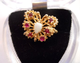Estate 14 Kt Yellow Gold Opal and Ruby Butterfly Ring  Size 8 1/4