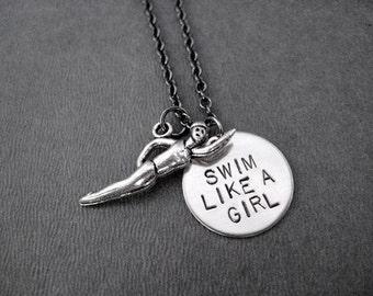 SWIM Like a GIRL Swim Necklace - Swimming Necklace on Gunmetal Chain - Swim Girl - Triathlete Necklace - Swim Jewelry - Swim Team - Swimmer