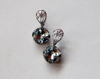 Black diamond grey Swarovski crystal dangle sterling silver 925 earrings Swarovski crystal dangling earrings