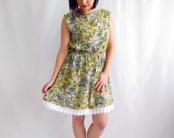 Floral dress, tunic dress, bohemian dress, yellow dress, cotton dress, mini dress, boho dress, romantic clothing
