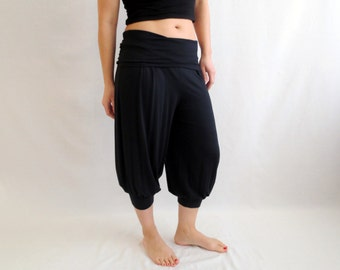 Black boho pants, yoga pants, yoga clothes, black pants, jersey pants trousers, boho pant harem