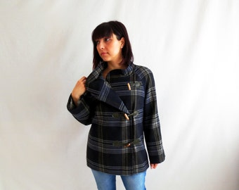 Plaid winter coat, wool coat, jacket for women, cashmere coat, womens jacket, plaid coat